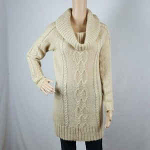 Sweater Small Beige Long Sleeve Soft Tunic Cowl